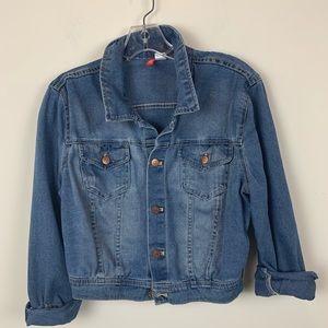 H&M Blue Cotton Denim Button Up Collared Jacket